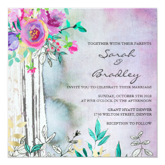 Rustic Garden Watercolor Wedding Invitations