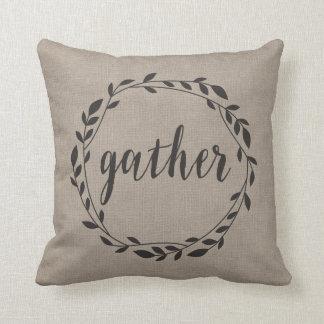 Rustic Gather Script with Vine Wreath & Polka dots Cushion