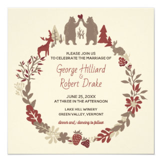 Rustic Gay Bears Woodland Wedding Invitation