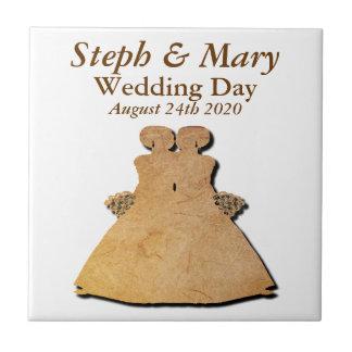 Rustic Gay Wedding Gift Tile for Lesbian Brides