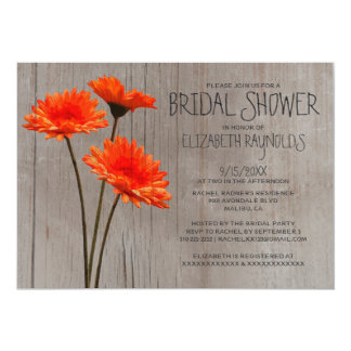 Rustic Gerbera Daisy Bridal Shower Invitations
