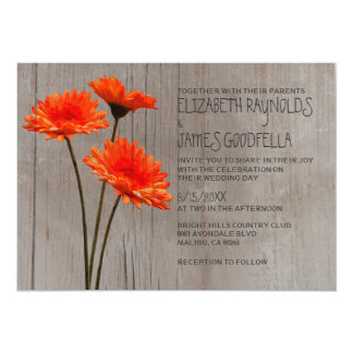 Rustic Gerbera Daisy Wedding Invitations