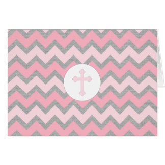 Rustic Girl Baptism thank you card, pink gray Card