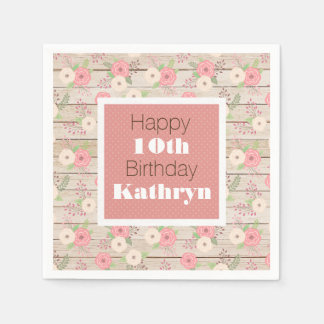 Rustic & Girly Birthday Disposable Napkin