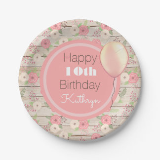 Rustic & Girly Birthday Paper Plate
