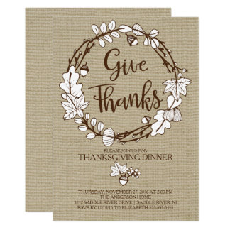 Rustic Give Thanks Thanksgiving Dinner Card