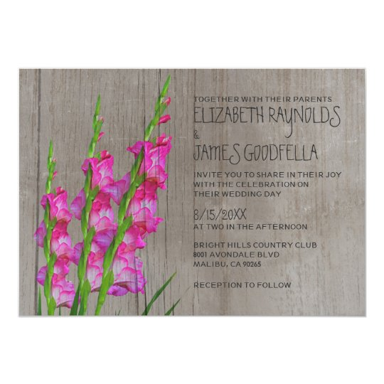 Rustic Gladiolus Wedding Invitations