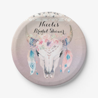 Rustic Glam Boho Floral Cow Skull Chic Party Paper Plate