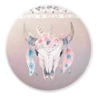 Rustic Glam Boho Floral Cow Skull Iridescent Ceramic Knob