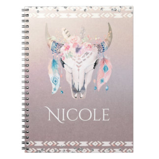 Rustic Glam Boho Floral Cow Skull Iridescent Notebook