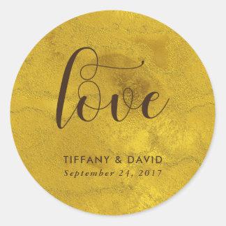 Rustic Glam   Faux Gold Wedding Love Round Sticker