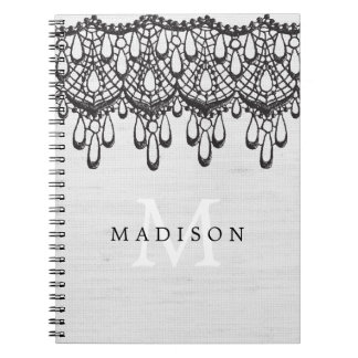 Rustic Glam Gray Linen and Black Lace Monogram Notebooks
