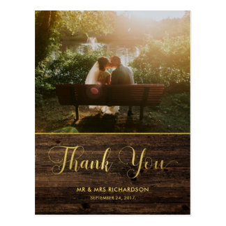 Rustic Glam Wood and Faux Gold Photo Thank You Postcard
