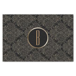 Rustic Glamour Burlap Royal Damask Chic Monogram Tissue Paper