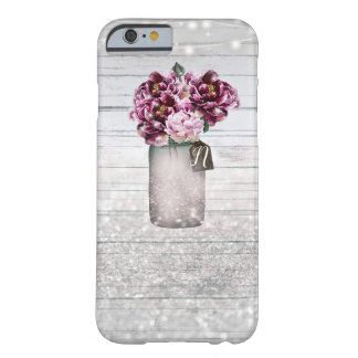 Rustic Glamour Wood & Burgundy Mason Jar Flowers Barely There iPhone 6 Case