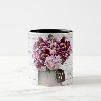 Rustic Glamour Wood & Burgundy Mason Jar Flowers Two-Tone Coffee Mug