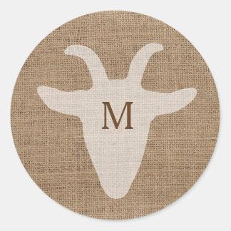 Rustic Goat Monogram Burlap Sticker