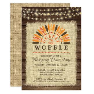 """Rustic """"Gobble til you Wobble"""" Thanksgiving Dinner Card"""