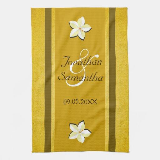 Rustic Gold Floral Mojo Wedding Kitchen Tea Towel Zazzle