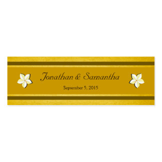 Rustic Gold Floral Wedding Favor Favour Tags Double-Sided Mini Business Cards (Pack Of 20)