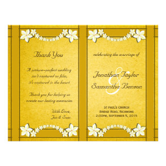Rustic Gold Floral Wedding Program Template Flyer