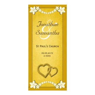 Rustic Gold Floral Wedding Program Templates Rack Card