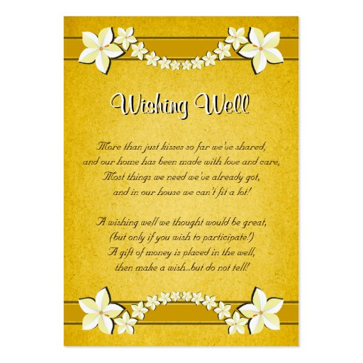 Rustic Gold Floral Wedding Wishing Well Cards Business Card Template