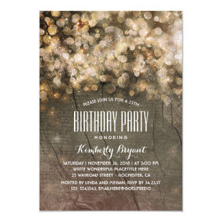 Rustic Gold Glitter Lights Wood Birthday Party Card