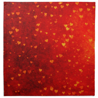 Rustic Gold Hearts on Red Distressed BG Napkin