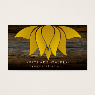 Rustic Gold Lotus Flower Yoga Meditation Retro Business Card