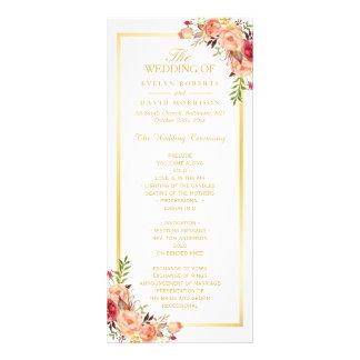 Rustic Gold Orange Floral Fall Wedding Program Rack Card