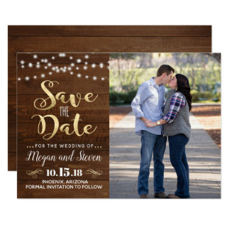 Rustic Gold Save The Date Card