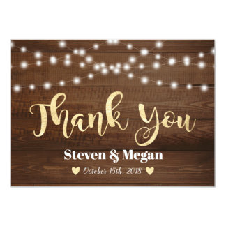Rustic Gold Thank You Card