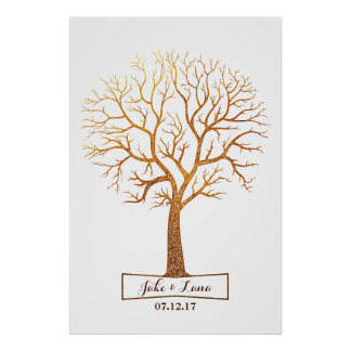 Rustic Gold Tree Thumbprint Wedding Guestbook Poster