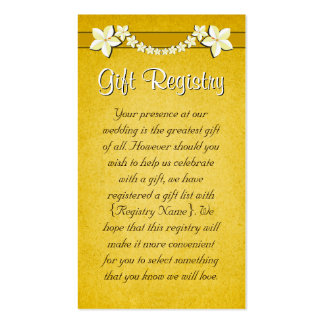 Rustic Gold Wedding Gift Registry Mini Cards Business Cards