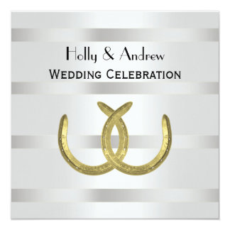 Rustic Golden Horseshoes Silver Wht Wedding Card