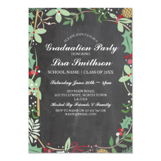 Rustic Graduation Party Chalk Berry Winter Invite