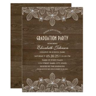 Rustic Graduation Party Wood Lace Pearl Grad Card