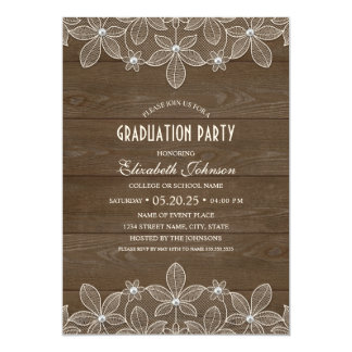 Rustic Graduation Party Wood Lace Pearl Grad Card
