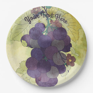 Rustic Grapes Personalized 9 Inch Paper Plate