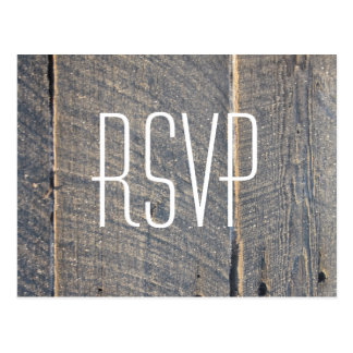 rustic gray barn wood country wedding RSVP Postcard