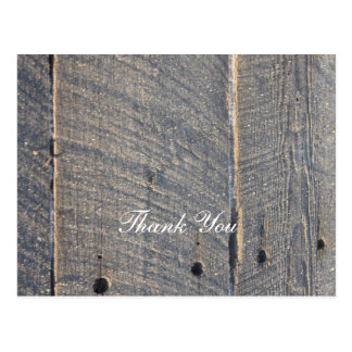 rustic gray barn wood country wedding thank you postcard