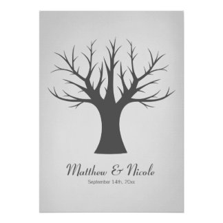 Rustic Gray Fingerprint Tree Wedding Poster