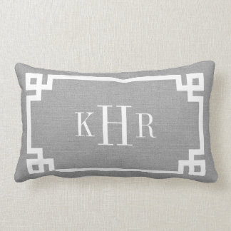 Rustic Gray Greek Key Border Custom Monogram Lumbar Cushion