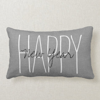 Rustic Gray Happy New Year Lumbar Cushion