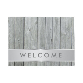 Rustic Gray Wood Farmhouse Welcome Doormat