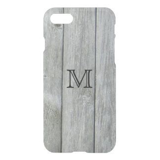 Rustic Gray Wood Pattern Custom Monogram iPhone 7 Case