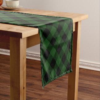 Rustic Green and Black Buffalo Plaid Short Table Runner