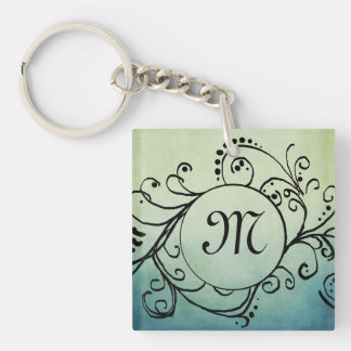 Rustic Green and Blue Bohemian  Flourish Square Acrylic Key Chain