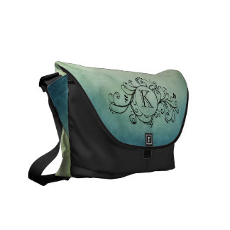 Rustic Green and Teal Bohemian  Flourish Messenger Bag